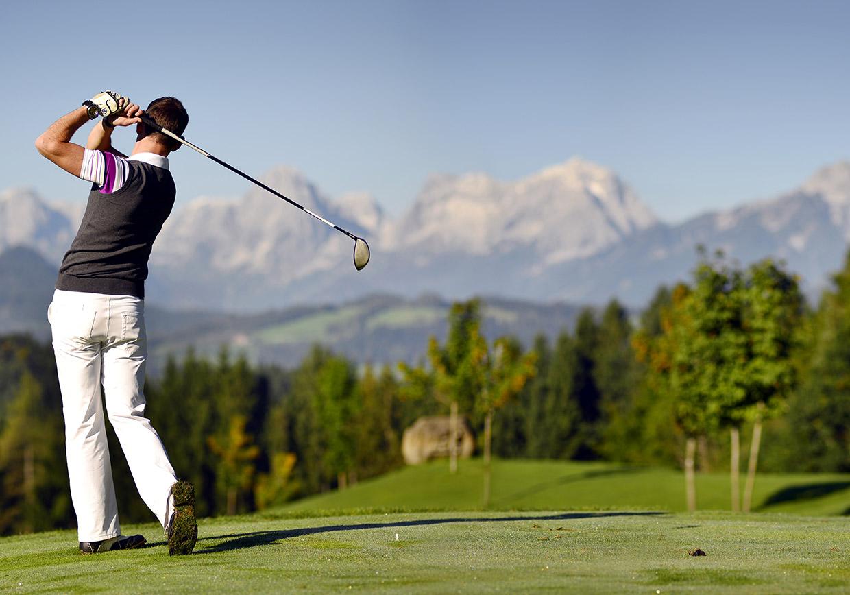 aktivurlaub, golf, abschlag, golfen, golfurlaub, berge, par, caddy, entspannung